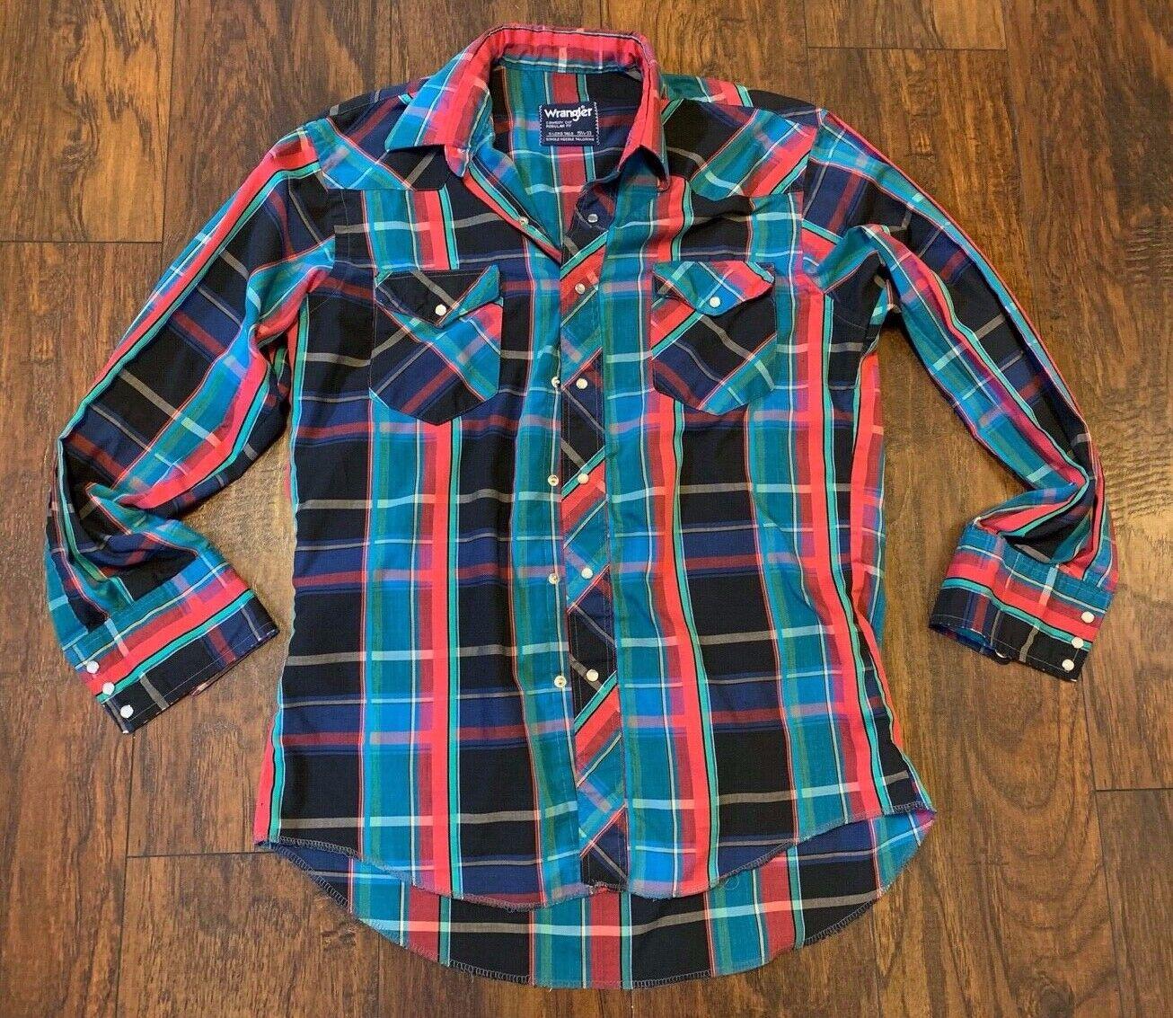 VTG Wrangler Men's Plaid Long Sleeve Button Up Shirt 15.5-33 Small Cowboy Cut