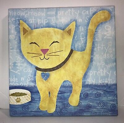 NEW Oopsy Daisy Too Canvas Wall Art 10x10 MEOW KITTY Cat Yellow /& Blue NEW