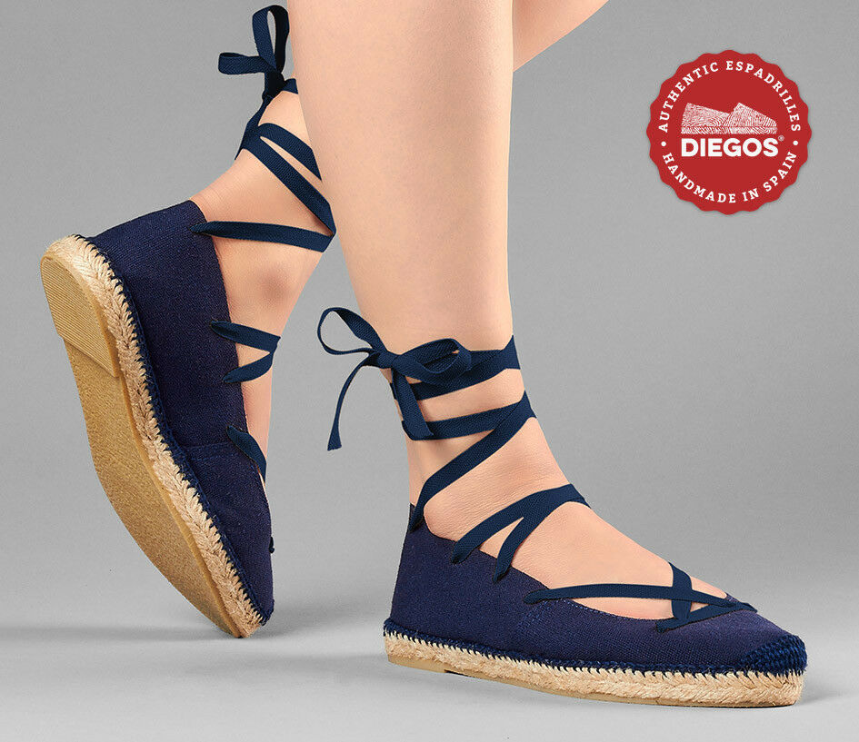 Choose the color of the laces - Flat Ballerina Espadrilles shoes, Made in Spain