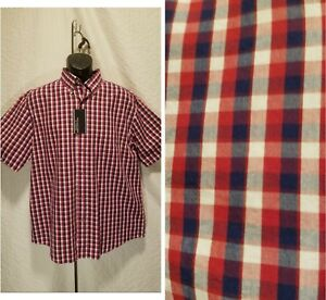 New-Roundtree-amp-Yorke-Men-039-s-Size-L-Large-Button-Down-Red-Plaid-Short-Sleeve-Shirt