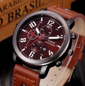 Luxury-Men-039-s-Date-Quartz-Watches-Sport-Analog-Stainless-Steel-Leather-WristWatch