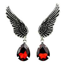 Dark Angel Wings w/ Red Stone Gothic Earrings Cosplay Jewelry Vampire Bat Anime