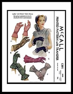 McCall-1391-Fabric-Sewing-Pattern-Women-039-s-GLOVES-Vintage-40-039-s-Accessory-S-M-L