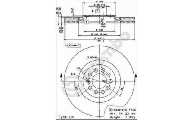 BREMBO Juego de 2 discos freno Antes 312mm ventilado SEAT VOLKSWAGEN 09.7880.11
