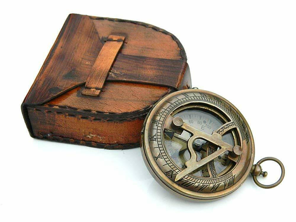 Brass Sundial Compass Engravable Compass With Leather Case