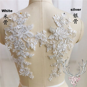 1-Pair-Applique-Lace-Trim-Embroidery-Sewing-Motif-DIY-Wedding-Bridal-Crafts