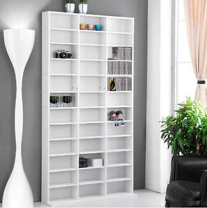Large Chunky CD Cabinet Tall DVD Rack White Storage Unit Wood ...