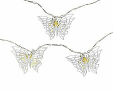 Parlane Pretty White Butterfly Garland with LED Lights - 175cm Long