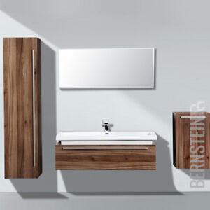 Details zu Badmöbel Set N1200 walnuss invers Spiegel und Seitenschränke  optional