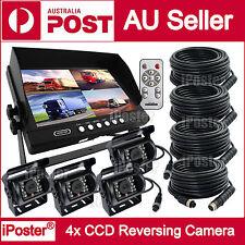 "9""Quad Monitor 4PIN CCD Reversing Camera Rearview 12V 24V 4 Camera Package Truck"