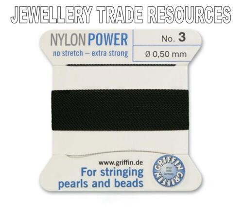 BLACK NYLON POWER SILKY STRING THREAD 0.50mm STRINGING PEARLS /& BEADS GRIFFIN 3