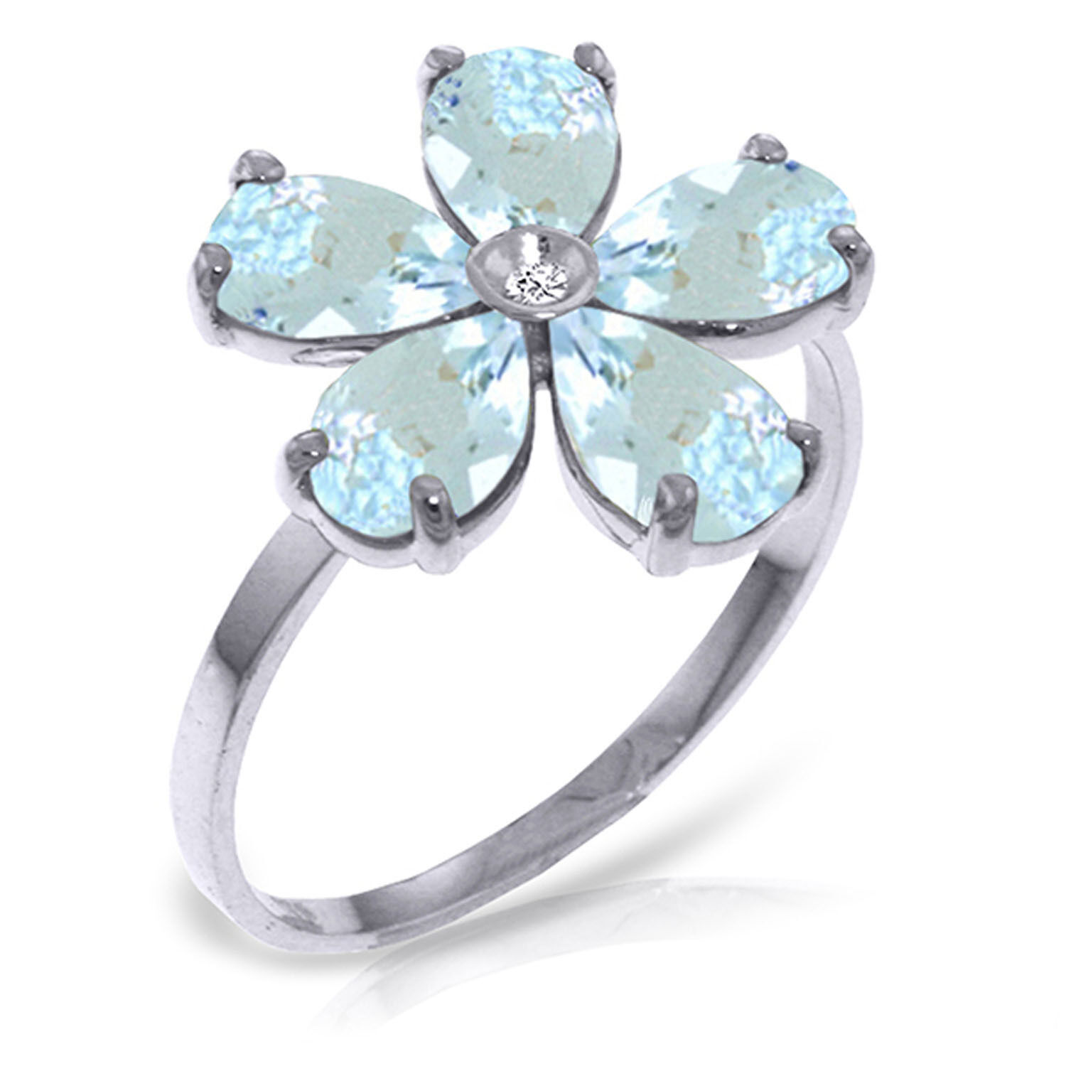 2.22 CT 14K Solid White gold Aquamarine Natural Diamond Ring