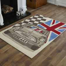 Beige Car Union Jack Large Rug 8mm Thick Modern 160x230cm Clearance