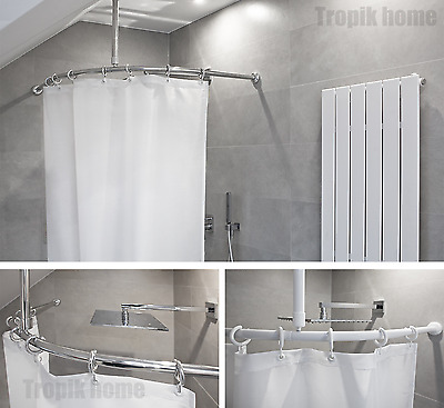 Curved Chrome Bath Shower Curtain Rod Rail 130 x 130cm 27mm diameter tube