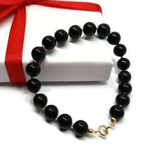Image Is Loading 9ct Yellow Gold Black Onyx Bracelet With