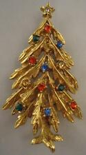 Vtg ART Signed Gold Multi color  Rhinestone Christmas Tree Pin Brooch Excellent!