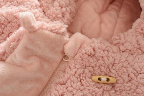 Baby Kids Girls Warm Coat Fleece Jacket Tops Fur Hooded Thick Parka Button Zip