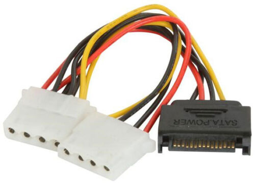 5 Pack 15 pin SATA Male to Dual 4-pin LP4 Molex Adapter Y Splitter Power Cable