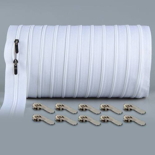10 Meters Zipper Double Sliders Quilt Closed End Sewing Fabric Crafts Materials