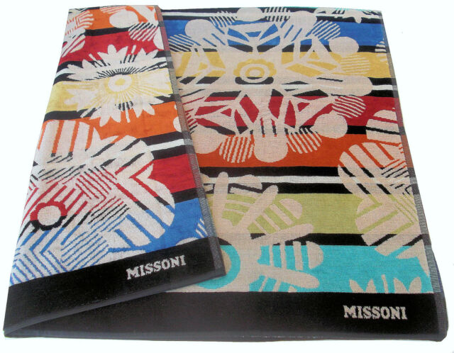 MISSONI HOME BEACH TOWEL VELOUR MARGHERITA OUTDOOR COLLECTION ORALEE 603 COTTON