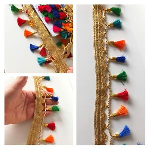 9 Yard Latest Indian Multicolour Tassel Trim Dupatta Lampshade work lace Trim