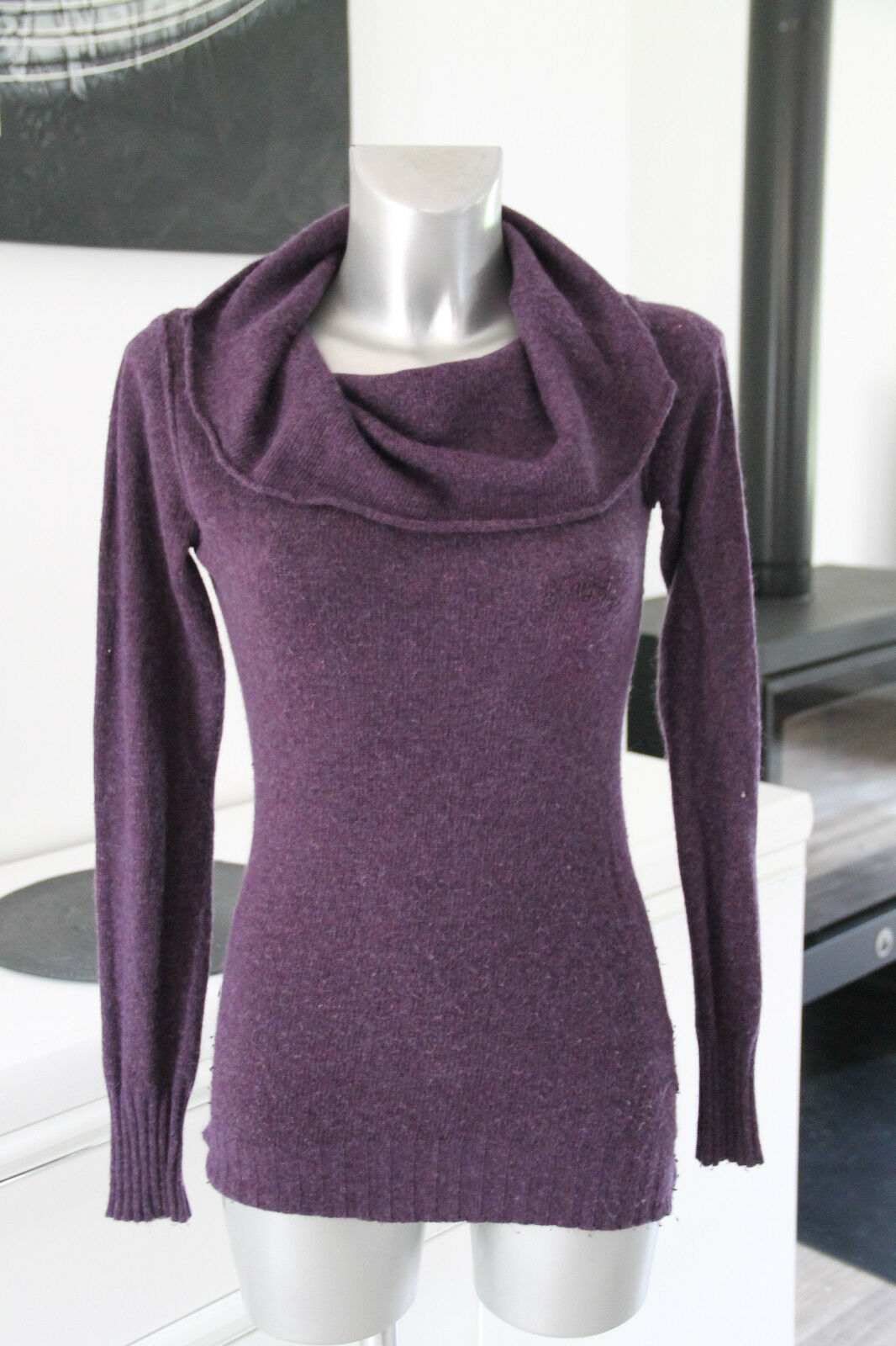 Nice sweater col wide wool angora purple KAPORAL yael Size XS for women