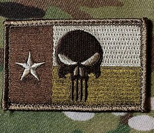 PUNISHER-SKULL-TEXAS-STATE-FLAG-MULTICAM-TACTICAL-VELCRO-BRAND-FASTENER-PATCH