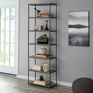 Rustic-Bookcase-Bookshelf-Farmhouse-Industrial-Furniture-7-Shelf-Home-Office-75-034
