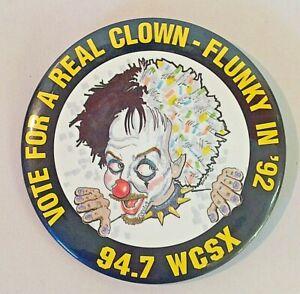 Vintage Color 1992 Campaign Pin Button 94.7 WCSX FM Radio Promo Flunky the Clown