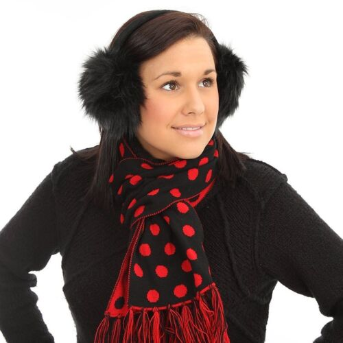 Ladies Womens New Reversible Spotty 2-Tone Winter Scarf Red Pink Purple Grey