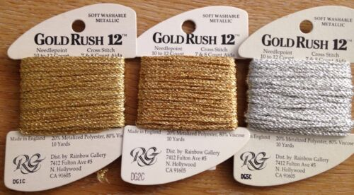 Gold Rush 12 thread soft washable metallic fiber cross stitch needlepoint 10 yds