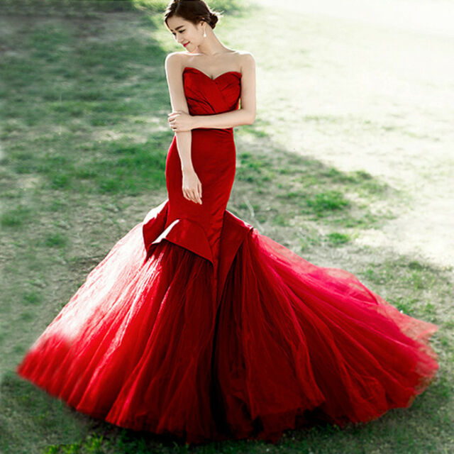 Red Strapless Ruffle Mermaid Evening Dresses Formal Prom Pageant ...