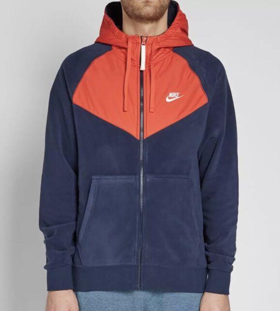 detaljer för var kan jag köpa kupongkoder Medium Mens Nike NSW Full Zip Polar Fleece Navy Habanero Hoodie 929114 451  for sale online | eBay