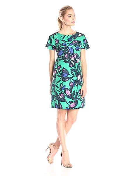 women Morgan Women's Short-Sleeve Twill Printed Shift Dress