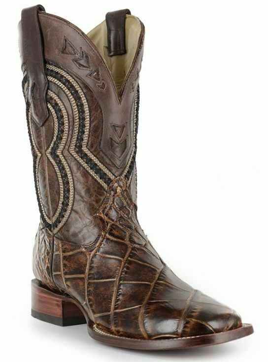 Corral Men's Alligator Square Toe Leather Cowboy Western Boots Brown A3083