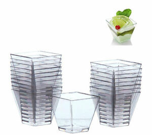 40x mousse cake dessert cups canape dishes clear plastic for Plastic canape dishes
