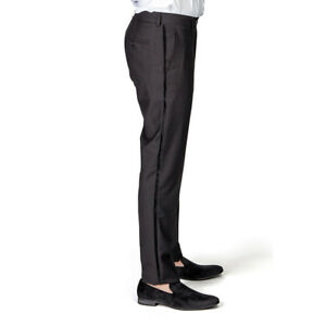 Tuxedo-Black-Dress-Pants-VELVET-Side-Line-Mens-Slacks-Trouser-Flat-Front-By-AZAR