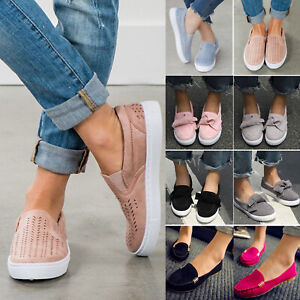 Women-039-s-Ladies-Low-Flat-School-Work-Dolly-Loafers-Bow-Creeper-Slip-On-Shoes-Size