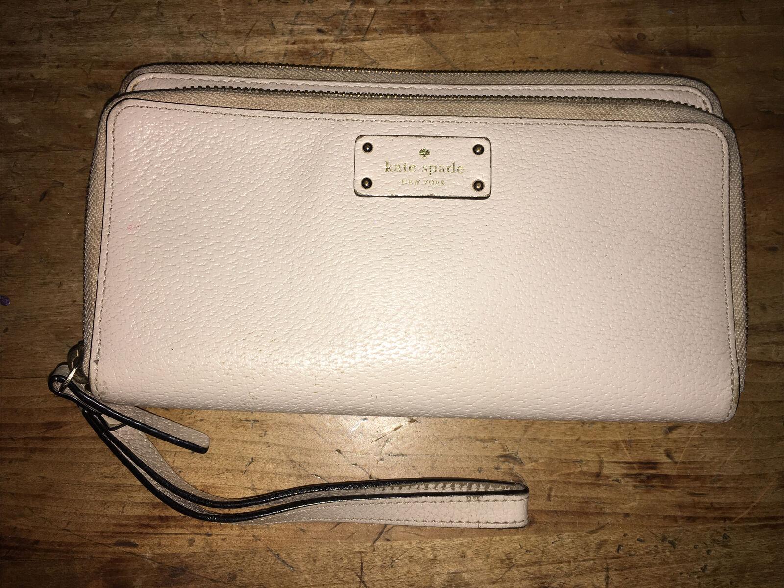 Authentic Kate Spade Taupe Tan Anita ? Grove Street Double Zip Wristlet Wallet