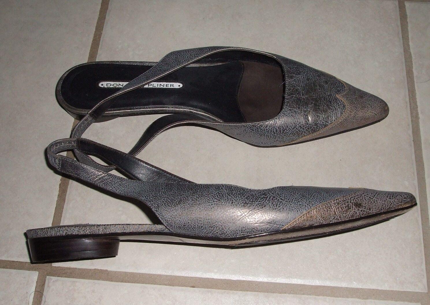 Donald Pliner Grey Bronze Metallic Gunmetal Leather Flat shoes Slingback 9.5