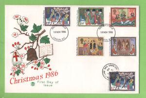 Conjunto-De-Navidad-Graham-Brown-1986-en-primer-dia-cubierta-doble-fecha-Stuart-London-WC-SW16