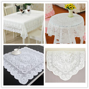 White-Vintage-Embroidered-Lace-Tablecloth-Dining-Table-Cloth-Mat-Doilies-Wedding