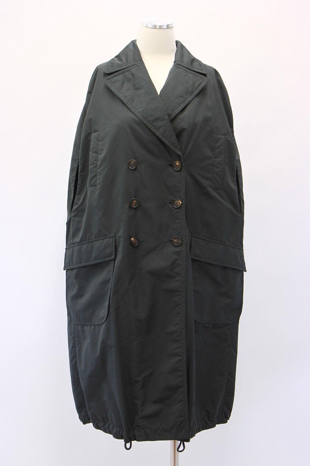 NWT 3995 Brunello Cucinelli Womens Silken DB Cape Overcoat W Logo Detail 42 A181