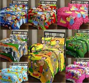 SA Collection's Kids Cartoon Print Polyester Single Bedsheet with 1 Pillow Cover