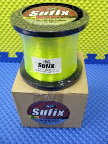 Sufix Elite 14 lb Hi-Vis Yellow Fishing Line 3000 yd Spool #661-314Y