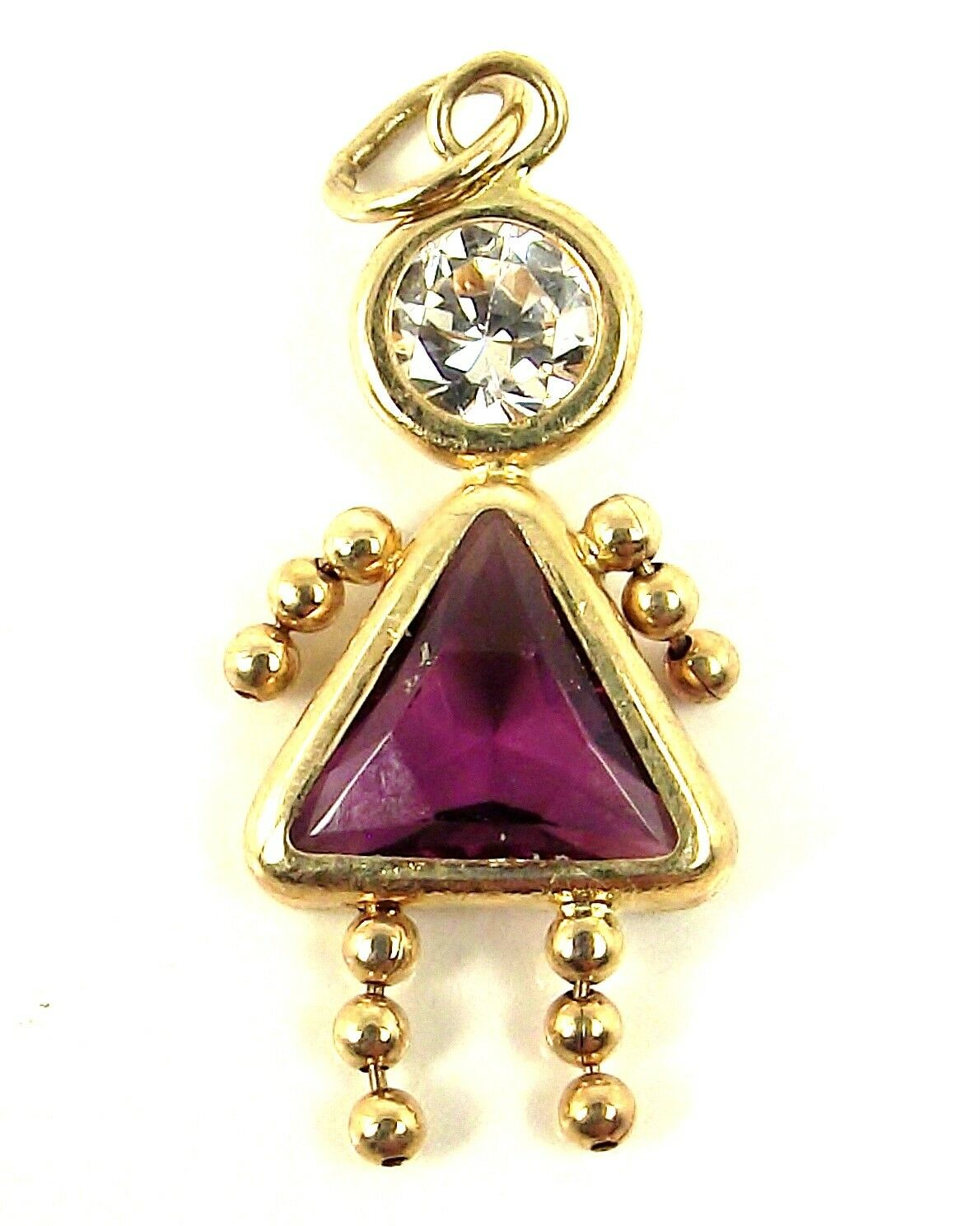 14K gold Amethyst Purple Crystal February Birthstone GIRL KID Baby Brat Charm