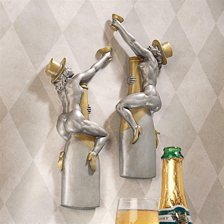 EU33831 Champagne Cuddle Cuties Speakeasy Bar Wall Sculptures - Retro Art Deco