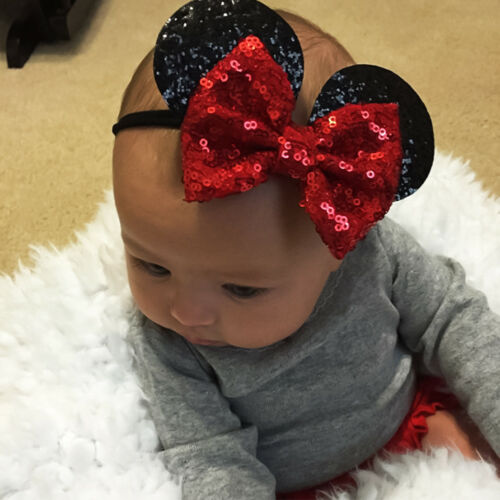 Baby Girl Minnie Mouse Ears Bow Sequin Headband Hair Band Party Fancy Accessorie