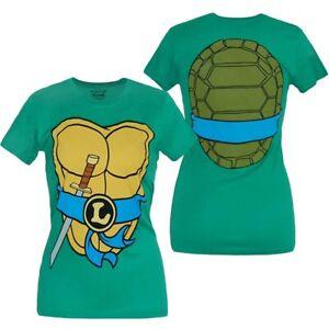 Teenage-Mutant-Ninja-Turtles-Leonardo-Costume-Junior-Women-039-s-T-Shirt