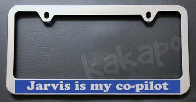 Jarvis Is My Co-Pilot Iron Man Aluminum Car License Plate Frame